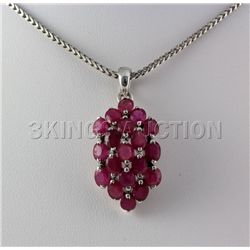 20.81CTW Pink Ruby Cluster Design Silver Pendant