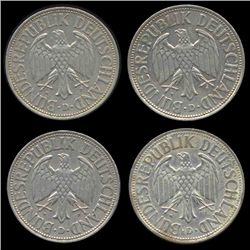 1965D/G/F/J Germany 1 Mark Hi Grade Scarce 4 Pcs (COI-8166)