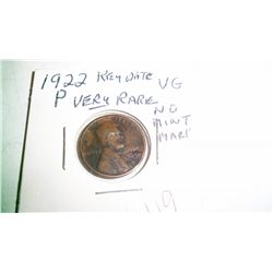 RARE MISSING MINT MARK1922-D LINCOLN CENT.