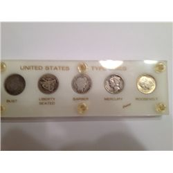 US TYPE SILVER DIME SET, 5 COINS,1835, 1884, 1914, 1937-S, 1964-D