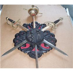 "CARVED WOOD CREST W/3 METAL REMOVABLE SWORDS, 34""X28"""