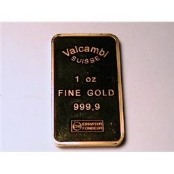 "One Ounce of Fine Gold .999 ""Valcambi Suisse """