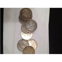 5 MIXED DATES 90%  SILVER PEACE DOLLARS