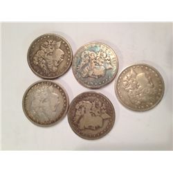 5 PRE-1900 EARLY DATE MORGAN SILVER DOLLARS