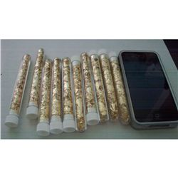 10 Large Vials of Gold Flakes 4""