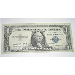 1957 SERIES A $1 SILVER CERTIFICATE BILL SERIAL # G03008967A *PLEASE LOOK AT PIC TO DETERMINE GRADE*