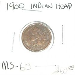 1900 INDIAN HEAD PENNY RED BOOK VALUE IS $60.00 *RARE MS-63 HIGH GRADE*!!