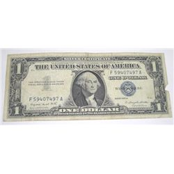 1957 SERIES A $1 SILVER CERTIFICATE BILL SERIAL # F59407497A PLEASE LOOK AT PIC TO DETERMINE GRADE*!