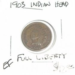 1903 INDIAN HEAD PENNY *FULL LIBERTY* RED BOOK VALUE IS $12.00 *NICE COIN - RARE EXTRA FINE GRADE*!!