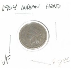 1904 INDIAN HEAD PENNY RED BOOK VALUE IS $8.00 *NICE COIN - VERY FINE GRADE*!!