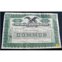 1939 100 SHARES STOCK CERTIFICATE *THE GREAT WESTERN SUGAR COMPANY - NICE STOCK CERTIFICATE*!!