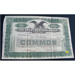 1928 *EXTREMELY RARE* 100 SHARES GREEN STOCK CERTIFICATE *THE GREAT WESTERN SUGAR COMPANY - NICE!!!