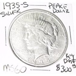 1935-S PEACE SILVER DOLLAR RED BOOK VALUE IS $300.00 *EXTREMELY RARE KEY DATE MS-60 HIGH GRADE*!!
