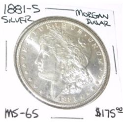 1881-S MORGAN SILVER DOLLAR RED BOOK VALUE IS $175.00 *RARE MS-65 HIGH GRADE*!!