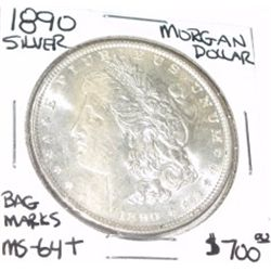 1890 MORGAN SILVER DOLLAR RED BOOK VALUE IS $700.00 *RARE MS-64+ HIGH GRADE* BAG MARKS!!