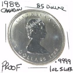 1988 CANADIAN MAPLE LEAF $5 DOLLARS .9999 1oz Silver Round *RARE PROOF HIGH GRADE*!!