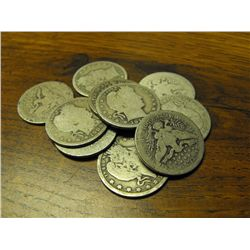 (10) Circulated Barber Quarters