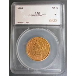 1858  $10 Gold Liberty SEGS 12 clnd/graffitti
