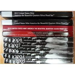 2004 thru 2012 silver proof quarter sets mint pkging