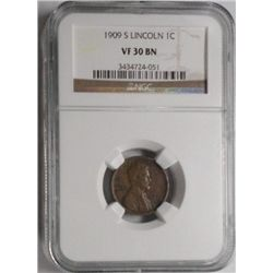 1909S  Lincoln penny  NGC30BN