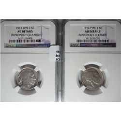 1913  T1 and T2 Buffalo nickels both   NGCAU cleaned
