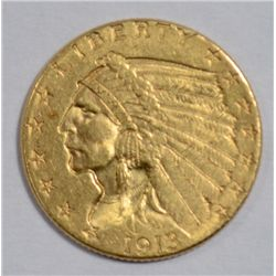 1913  $2 1/2 GOLD coin all original AU  est  $300-$325