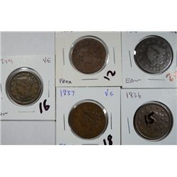 Large Cent Avg. Circ 1816-1836-1837-1849-1852