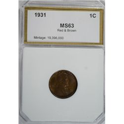 1831 Lincoln Cent  PCI MS63