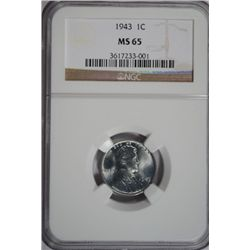 Lincoln Cent 1943 NGC MS65