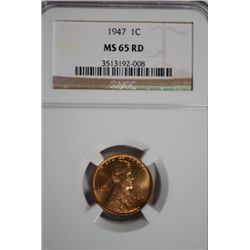 Lincoln Cent 1947 NGC MS65 RED