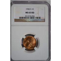 Lincoln Cent 1950-S NGC MS65 RED