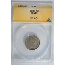 1883 Liberty V- Nickel ANACS EF40 with cents