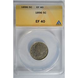 1896 Liberty V- Nickel ANACS EF40