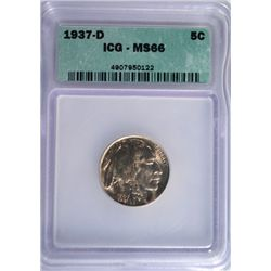 1937-D Buffalo Nickel ICG MS66 GEM!