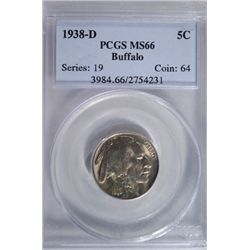 1938-D Buffalo Nickel PCGS MS66 GEM!