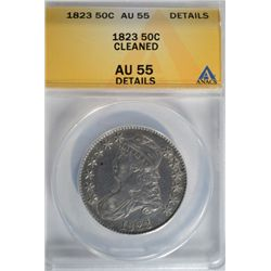 1823 Bust Half Dollar ANACS AU-55 Light Cleaning