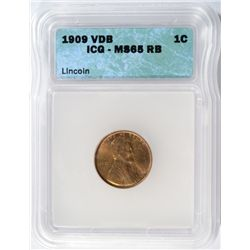 1909 VDB LINCOLN CENT ICG MS-65RB