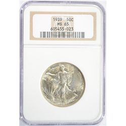 1939 WALKING LIBERTY HALF DOLLAR NGC MS-65
