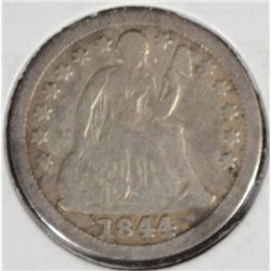 1844 SEATED LIBERTY DIME FINE+