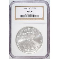 2004 AMERICAN SILVER EAGLE NGC MS-70