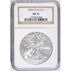 2008 AMERICAN SILVER EAGLE NGC MS-70