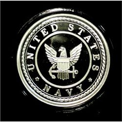 UNITED STATES NAVY, 1 Oz .999 SILVER Pf. ART ROUND