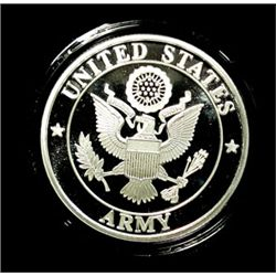 UNITED STATES ARMY PROOF SILVER ART ROUND, ONE Oz. .999 SILVER/CAP. & BOX