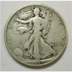 1919-S WALKING LIBERTY HALF DOLLAR F-VF