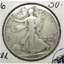 1916 WALKING LIBERTY HALF DOLLAR VF-XF