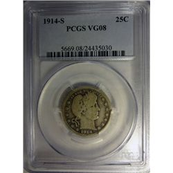 1914-S BARBER QUARTER PCGS VG8 KEY COIN!