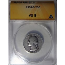 1932-S WASHINGTON QUARTER ANACS VG 8