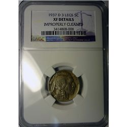1937-D BUFFALO NICKEL 3 LEGS NGC XF SAYS CLEANED, BUT LOOKS ORIGINAL.
