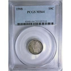 1908 BARBER DIME PCGS MS64 SUPER!
