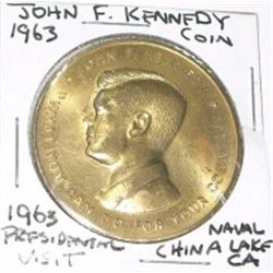 1963 John F_ Kennedy Coin http://www.icollector.com/1963-JOHN-F-KENNEDY-COIN-RARE-PRESIDENTAL-VISIT-COIN-NAVAL-CHINA-LAKE-CALIFORNIA_i13996837